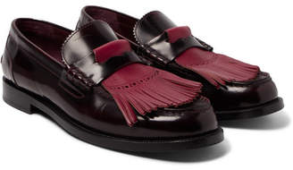 Burberry Polished-Leather Kiltie Loafers