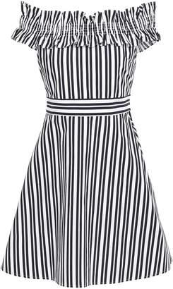 Kate Spade Off-the-shoulder Striped Cotton-blend Poplin Mini Dress