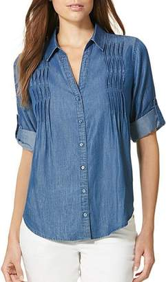 Gloria Vanderbilt Womens Giselle Chambray Top