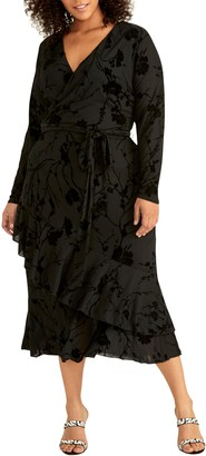 Rachel Roy Ruffle Hem Faux Wrap Midi Dress