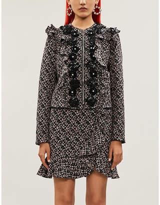 Giambattista Valli Ruffled embellished tweed jacket