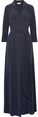 L'Agence Cameron Washed-silk Maxi Dress - Midnight blue