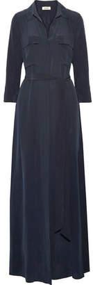 L'Agence Cameron Washed-silk Maxi Dress - Midnight blue