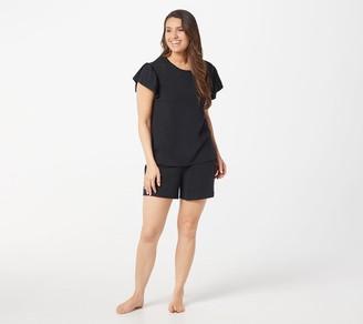 Anybody AnyBody Cozy Knit Flutter-Sleeve Short Set