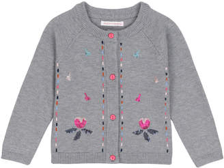 Deux Par Deux Grey Knitted Cardigan With Floral Embroidery