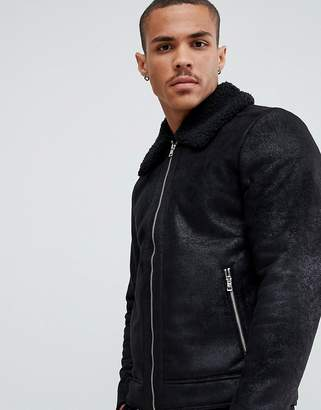 Jack and Jones Originals faux leather flight jacket with full teddy lining