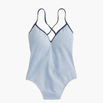 J.Crew Lace-up back one-piece swimsuit in tipped seersucker