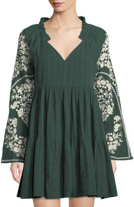 Free People Embroidered-Sleeve V-Neck Peasant Dress, Green