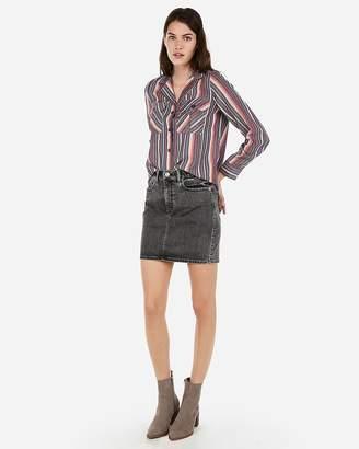 Express Striped Button-Up Utility Pocket Shirt