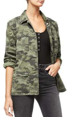 Good American Snap-Front Camo-Print Utility Jacket - Inclusive Sizing