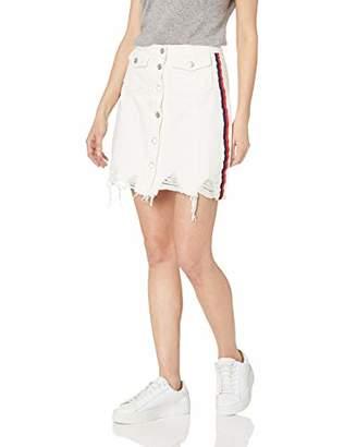 CG JEANS Cute Ruffle Ripped Short Pencil Denim Jeans Skirt for Women