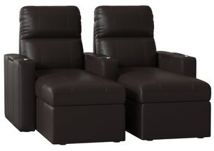 Red Barrel Studio Power Recline Leather Home Theater Row of 2 Red Barrel Studio