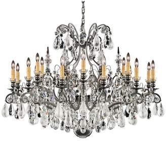 Schonbek Renaissance Rock Crystal 19-Light Chandelier in Antique Pewter