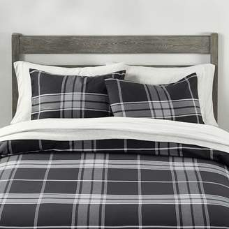 Pottery Barn Teen Crosby Plaid Duvet Cover, Twin/Twin XL, Gray/Black