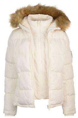 Soul Cal SoulCal Womens Two Zip Bubble Jacket Padded Coat Top Hooded Winter Warm Fur Trim