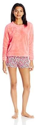Hue Women's Fleece Shirt and Boxer Pajama Set