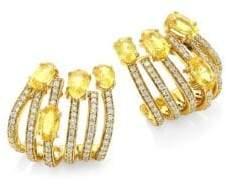 Hueb Spectrum Diamond& Yellow Sapphire Hoop Earrings