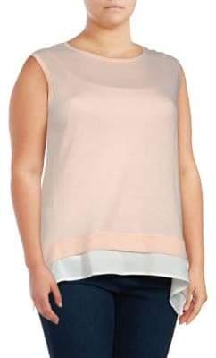 Joan Vass Plus Roundneck Sleeveless Cotton Top