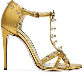 Gucci Women's Regina Leather T-Strap Sandals - Gold
