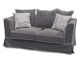 One World Grey 2 Seater Sofa With Cream Trim