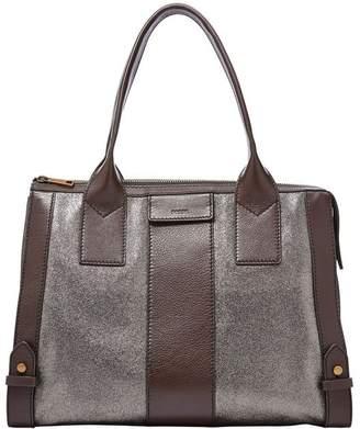 Fossil Online Brands Women's Leather Gwen Satchel Handbag Pewter/