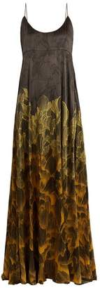 Adriana Iglesias - Brando Floral Print Stretch Silk Gown - Womens - Black Gold