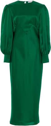 Olivia von Halle Aureta Silk-Satin Midi Dress Size: 2
