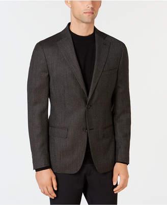 DKNY Men Slim-Fit Chocolate Brown Diamond Pattern Wool Sport Coat
