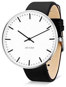 Arne Jacobsen Unisex Quartz Watch with White Dial Analogue Display and Black Leather Strap 53203