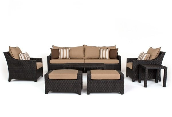 RST Brands Deco Maxim Beige Sunbrella and Resin Wicker 8-piece Sofa and Club Chair Set