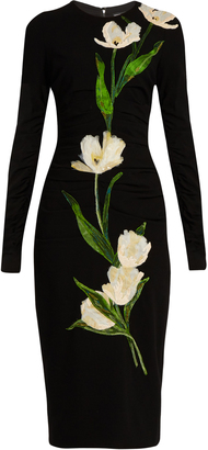DOLCE & GABBANA Tulip-appliqué wool-blend dress $4,995 thestylecure.com