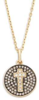 14K Yellow Gold & Diamonds Cross Disc Pendant Necklace