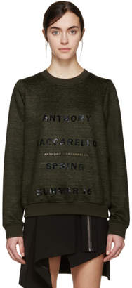 Anthony Vaccarello Green Logo Pullover