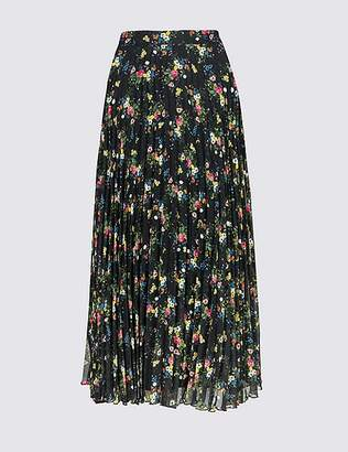 Marks and Spencer Floral Print Pleated A-Line Midi Skirt