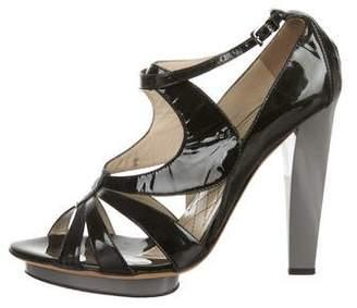 Alberta Ferretti Patent Leather Cage Sandals