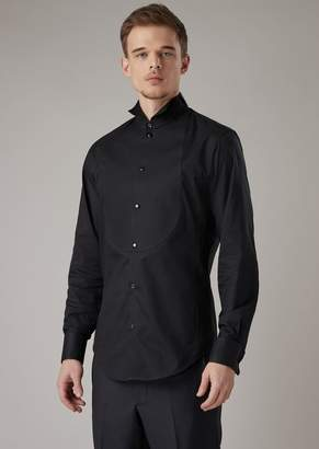 Giorgio Armani Regular-Fit Tuxedo Shirt In Voile With Plastron In Honeycomb Fabric