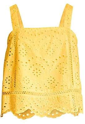 7 For All Mankind Women's Squareneck Eyelet Cotton Tank Top