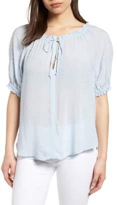 Velvet by Graham & Spencer Swiss Dot Short Sleeve Blouse