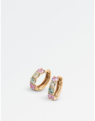 Rosegold BUCHERER JEWELLERY Pastello Creole 18ct rose-gold and sapphire earrings