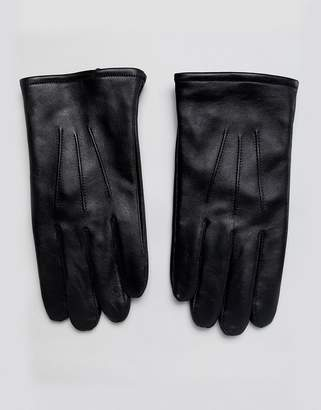 Asos DESIGN leather gloves in black with touchscreen