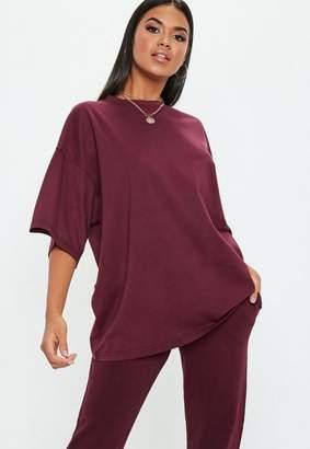 Missguided Tall Burgundy Drop Shoulder Oversized T-Shirt