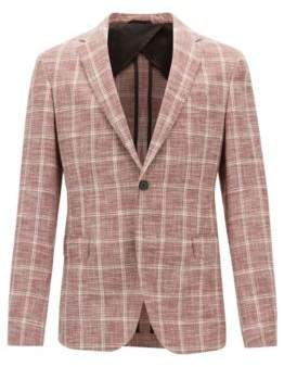 BOSS Hugo Slim-fit jacket in checked fabric AMF stitching 38R Dark Red