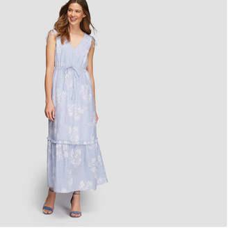 Joe Fresh Women's Stripe Floral Print Maxi Dress