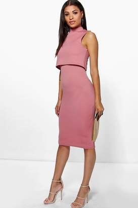 boohoo Leah High Neck Double Layer Midi Dress