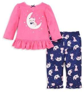 Little Me Little Girl's Two-Piece Cat Printed Pajama Set