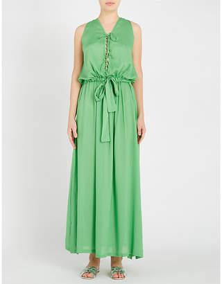 Melissa Odabash Jacquie lace-up drawstring woven maxi dress