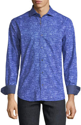 Bugatchi Shaped-Fit Woven Abstract-Print Sport Shirt