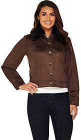 Lisa Rinna Collection Faux Suede Jacket withFaux Fur Collar
