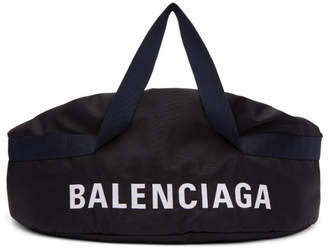 Balenciaga Black and Navy Medium Wheel Duffle Bag