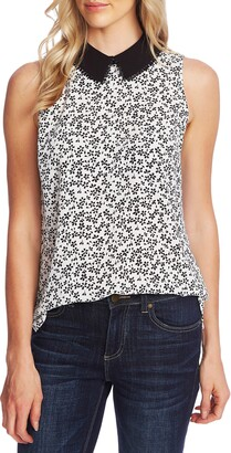 CeCe Sakura Delight Print Peter Pan Collar Sleeveless Blouse